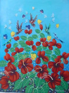 "Haitian Caribbean art painting famous artist Aland Estime Haiti 30""X40"" Garden #Naif"