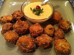 #LowCarb Fried Mushrooms with Red Pepper Aioli Dipping Sauce Shared on https://www.facebook.com/LowCarbZen