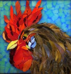 Stained glass mosaic rooster courtesy of Kickin' Glass Kansas