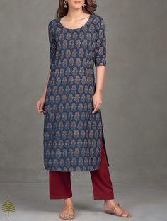 Buy Indigo Madder Black Ajrak Printed Cotton Kurta Women Kurtas Ajrakh Essentials Dresses and more Online at Jaypore.com