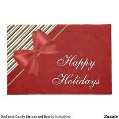 Red with Candy Stripes and Bow Doormat
