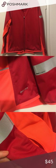 Nike Element Dri-fit jacket NWOT jacket, my son decided he didn't like the orange in the jacket.  Reflective accents on jacket with thumbhole cuffs.  Red and orange. Nike Jackets & Coats Performance Jackets