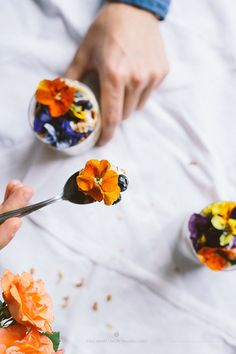 granola with lemon yogurt & edible flowers
