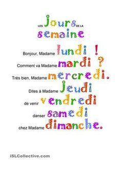 The weekdays - Innov Education French Language Lessons, French Language Learning, French Lessons, French Teaching Resources, Teaching French, French Poems, French Worksheets, French Education, Core French