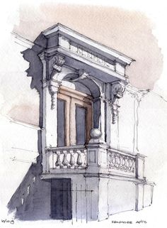architectural watercolour of a doorwau