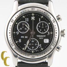 Tissot Men's Stainless Steel Chronograph Quartz Watch J178 w/ Date & Black Dial #Tissot #Sport