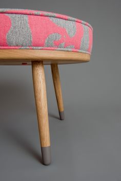 Wooden Footstool With Pink And Grey Cushion