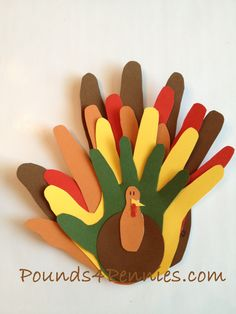 Thanksgiving art crafts turkey-hands from everyone in the family