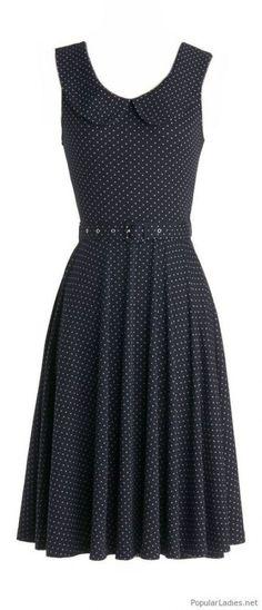 Belted polka dot dress that fits the era the skirt looks like it falls below the knee Trendy Dresses, Cute Dresses, Short Dresses, Fashion Dresses, Skirt Fashion, Dots Fashion, Dress Outfits, Vintage Outfits, Vintage Dresses
