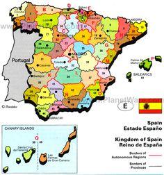 Kingdom of Spain Map Spanish Teacher, Spanish Classroom, Teaching Spanish, Ap Spanish, How To Speak Spanish, Andorra, Map Of Spain, Dinosaur Tracks, Cultural Crafts