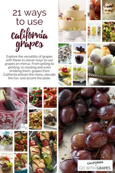 Enliven the menu, elevate the fun, and accent the plate with these 21 ways to use California grapes. Grape Recipes, Fruit Recipes, Veggie Recipes, Veggie Food, Party Food To Make, California Food, Food Garnishes, Fruits And Veggies, Recipes