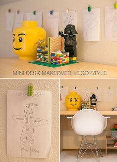 A mini makeover of my son's desk including two super easy Lego DIY desk projects. A great way to add organization to a child's space without purchasing anything new.