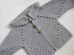"""""""Sue's No Holes Hexagon Baby Sweater"""" free crochet pattern by Cozy's Corner, made with Lion Brand Babysoft."""