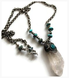 Shaman Crystal necklace from Peru, with turquoise, pyrite, chrysocolla and sterling silver SOLD