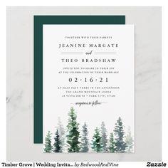Timber Grove | Wedding Invitation Elegant Wedding Invitations, Monogram Wedding Invitations, Watercolor Wedding Invitations, Wedding Invitation Cards, Custom Invitations, Invitation Ideas, Birthday Invitations, Shower Invitations, Invites