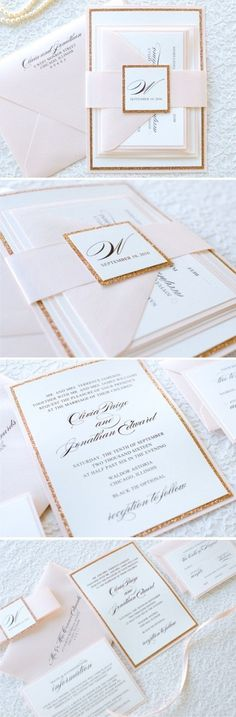 The Darling Suite - Rose Gold Glitter, Blush and Ivory Wedding Invitation and RSVP Card Suite - Elegant, Glam, Formal