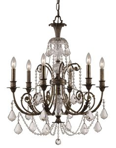 "Crystorama Lighting Group 5116-CL-MWP Regis 6 Light 26"" Wide Wrought Iron Candle English Bronze Indoor Lighting Chandeliers"