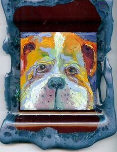 Art: Bulldog Fused Glass by DSprague