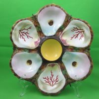 Rare- Beautiful Majolica Oyster Plate