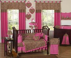 Bedroom: Pink Baby Nursery Set With Cheetah Accents. Cute!