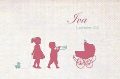 Geboortekaartje Iva - Pimpelpluis - https://www.facebook.com/pages/Pimpelpluis/188675421305550?ref=hl (# broertje - zusje - broer - zus -  kindjes - lief - silhouet - wieg - eendje - vogel - trompet - muziek - origineel)