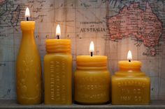 Beeswax Candle Collection - 4 Course Meal - Lime Juice, Apothecaries, Vaseline Jar -and- Diamond InkWell - Pollen Arts Candle Lanterns, Candle Jars, Candle Holders, Bottle Candles, Candle Decorations, Beeswax Candles, Pillar Candles, Commonwealth, Chandeliers
