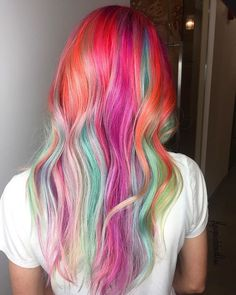 Rainbow sherbet Color by @hairpaintedwithlove using #UnicornHair dyes in Pony, Gargoyle, Strawberry Jam, Salad, Anime, Neon Peach, and Bunny!