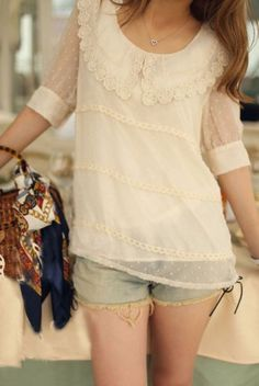 Nude Crochet Floral Lace Collar Chiffon Dotted Swiss Blouse pictures