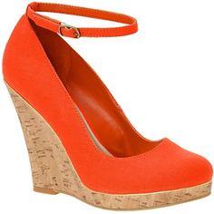 Orange cork-look wedge heeled shoes found on Polyvore