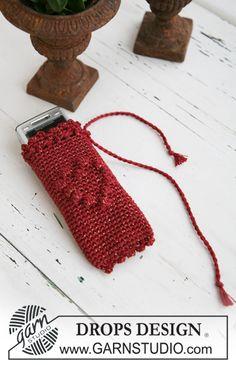 Bolso y funda para el móvil DROPS a ganchillo en Cotton Viscose y Glitter. Patrón gratuito de DROPS Design.