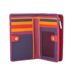 Woman's Real Calfskin Leather Colored Wallet By Dudu Fuchsia