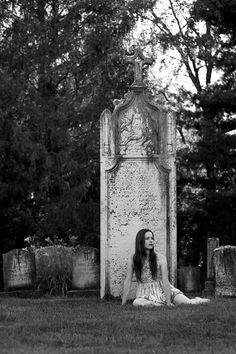 A model photo in a local cemetery.