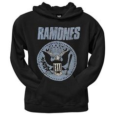 The Ramones Classic Seal Bleach Stained Black Pullover Sweatshirt Hoodie New
