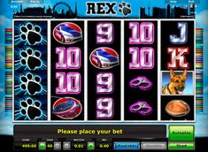 Rex online slot from Novomatic is based on popular German TV-series, about the police dog Rex.This video slot has 5 rees and 40 paylines, with plenty of interesting bonuses such as free spins and 25x multiplier.
