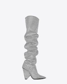 Saint Laurent Niki 105 Slouch silver crystal/diamond - embellished boots