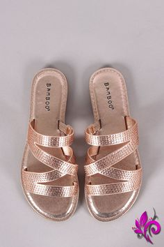 This lovely slide flat sandal features a strappy construction with sparkling rhinestones accent and lightly padded insole.Material: Fabric (man-made)Sole: RubberMeasurement Heel Height: (approx) Cute Sandals, Strappy Sandals, Flat Sandals, Slide Sandals, Open Toe Flats, Shoe Closet, New Shoes, Shoe Boots, Women's Boots
