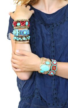 The Sante Fe Collection........our beautiful collection of turquoise, coral and beaded cuff bracelets! Each are handmade with exceptional detail. Each have either faux turquoise, coral and/or acrylic
