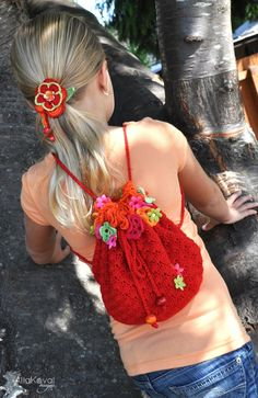 floral_fiesta_backpack - free pdf download! Visit her site, it has many free crochet and knit patterns!