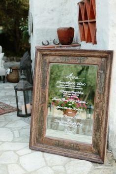 Antique Mirror Wedding Menu