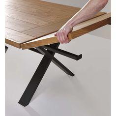 Extensions for Square oak dining table – Design extending table - Modern Square Dining Tables, Oak Dining Table, Dining Table Design, Table Design Extensible, Home Interior, Interior Decorating, Esstisch Design, Metal Table Legs, Metal Tables