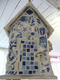 Vogelhuis delfsblauw mozaiek achterkant