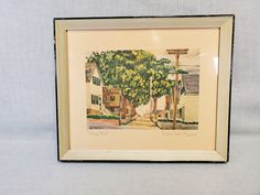 William McK Spierer Watercolor Lithograph Print - Village Street - Double Signed by Artist - Framed Under Glass - Mid Century- FREE SHIPPING by RandomActsofVintage on Etsy Love Painting, Painting On Wood, Purple Cat, Vintage Art Prints, Paper Dimensions, Beige Color, True Colors, Mid Century, Framed Prints