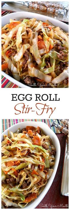 Egg Roll Stir-Fry: all the flavor of an egg roll without the wrapper! Like an unstuffed egg roll in a bowl. So delicious!                                                                                                                                                                                 More