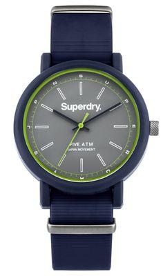 Superdry Mens Campus Nato Blue Silicone Strap Watch SYG197U