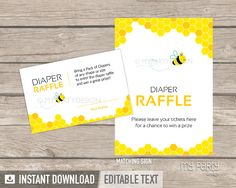 Bee Baby Shower PRINTABLE Diaper Raffle Tickets and Sign - My Party Design