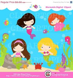 Hey, I found this really awesome Etsy listing at https://www.etsy.com/listing/156977071/50-off-sale-mermaids-digital-clipart