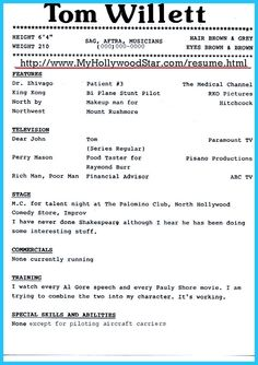 Awesome Brilliant Acting Resume Template To Get Inspired, Check More At  Http://