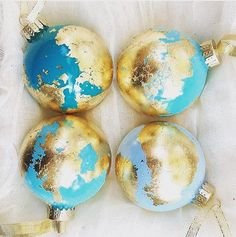 Gold leaf globe ornaments from HolidayEveryDayArt