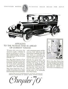"Chrysler ""70"" Ad (February, 1927) - Illustrated by Fred Cole and Edwin Dahlberg"