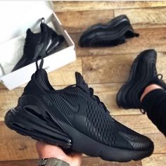 Reposted from   - *In Stock ✅* *Nike quality Guaranteed* *Size *Best Price Guaranteed*   All Black Nikes, All Black Sneakers, Black Shoes, Sneakers Fashion Outfits, Fashion Shoes, Nike Fashion, Cute Shoes, Me Too Shoes, Air Max 97
